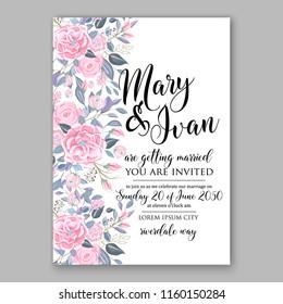 Floral wedding vector invitation background pink ranunculus peony rose chrysanthemum anemone