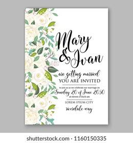Floral wedding vector invitation background white peony rose chrysanthemum anemone