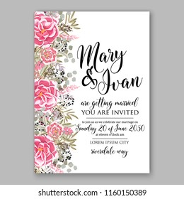 Floral wedding vector invitation background peony rose chrysanthemum anemone pink ranunculus