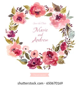 Floral wedding wreath. Wreath with roses, leaves