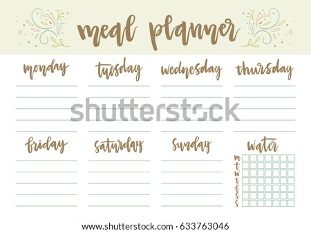 floral weekly daily meal planner template stock vector royalty free