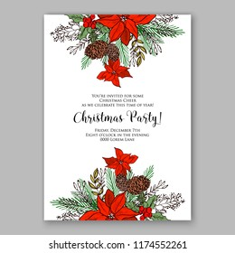 Floral winter background for wedding invitation, christmas party invitation, baby shower invitation bridal shower invitation vector template. Anemone peony poppy poinsettia fir pine branch wreath