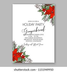 Floral winter wreath vector invitation template for Christmas party Red Poinsettia fir pine needle greenery Holiday card