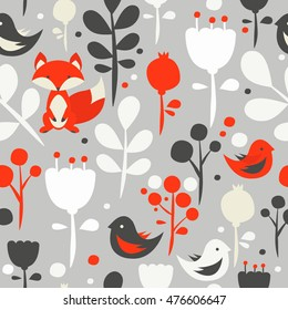 Floral woodland animals seamless pattern on gray background. Vector pattern with fox and brids