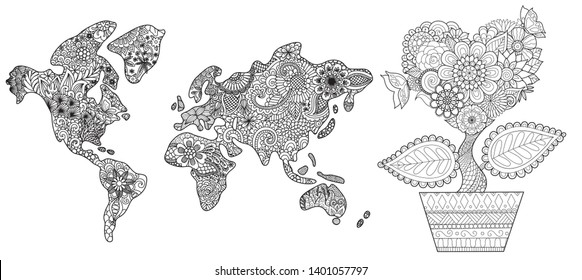 Floral world map and hearted shape flowers on the pot collection for adult coloring book, coloring page and print on things. Vector illustration