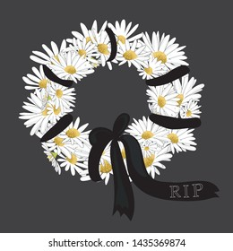 Floral wreath with black  ribbon with R.I.P. Rest in Peace