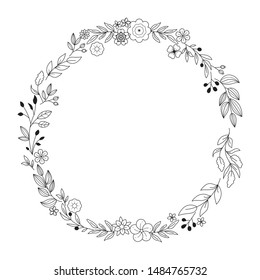 Floral Wreath branch in hand drawn style. Floral round black and white frame of twigs, leaves and flowers. Frames for the Valentine's day, wedding decor, logo and identity template.