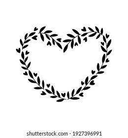 Floral wreath with branch, heart. Greeting cards template. Vector romantic frame illustration isolated on white background. For wedding invitations, holiday typography.