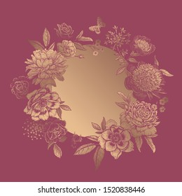 Floral wreath and butterflies. Frame of beautiful gold peonies and garden flowers on rosewood color background. Vintage. Vector illustration. Template for greetings, wedding decor and invitations