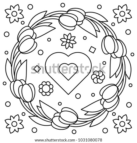 Floral Wreath Coloring Page Vector Illustration Stock Vector