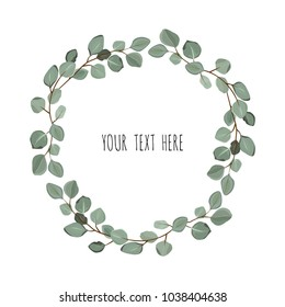 Floral wreath with green eucalyptus leaves. Frame border with copy space. eps10