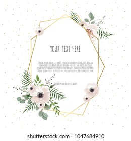 Floral wreath with green eucalyptus leaves, flower rose, anemone . Frame border with copy space. eps10