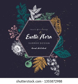 Floral wreath. Ink hand drawn template. Exotic fruits and flowers design. Vector illustration with highly detailed perfumery and cosmetics ingredients.  Outlines in engraved style.