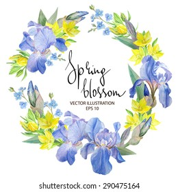 Floral wreath with Iris flowers, Botanical Hand drawn Watercolor Vector Illustration