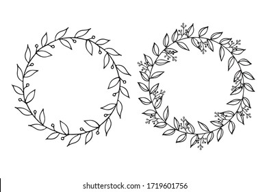 Floral Wreath with leaves and berries, round frame, floral circle vector isolated on white background. For wedding invitations, greeting cards