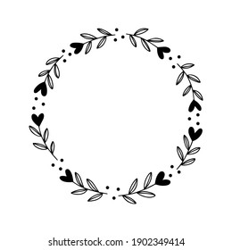 Floral wreath with leaves and heart. Valentine's day greeting cards template. Vector romantic round frame isolated on white background. For wedding invitations, holiday typography.