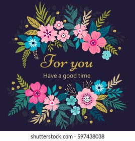 Floral wreath on dark blue background. Bright colorful spring flowers. Vector floral frame template. Cute retro flowers arranged in the shape of a wreath is perfect for invitations and greeting cards