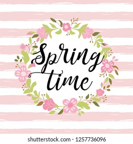 Floral wreath on pink striped background. Cute hand drawn colorful spring flowers Vector floral frame template. Text Spring time decorated flowers perfect for invitations greeting cards poster banner.