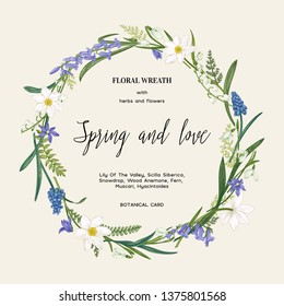Floral wreath for a romantic wedding invitation with spring white and blue flowers. Botanical illustration. Colorful