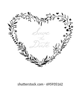 Floral wreath in shape of heart for Valentine Day and wedding design. Beautiful rustic floral wreath hand drawn and isolated on white. Vector illustration.