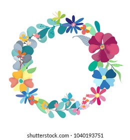Floral Wreath with simple color Flowers over white