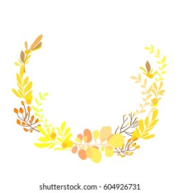Floral wreath with spring summer yellow flowers branches and leaves. Decorative floral round frame. Can be used for save the date cards and wedding invitations.