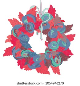Floral wreath. Vector illustration of pink and purple roses with pink leaves with turquoise ribbon on white background