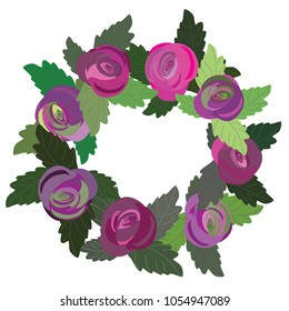Floral wreath. Vector illustration of pink and purple roses with green leaves on white background