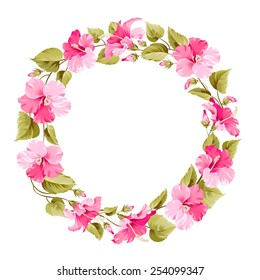 Floral wreath for Vintage Label. Vector illustration.
