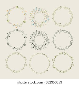 Floral wreaths collection. Vector illustration.