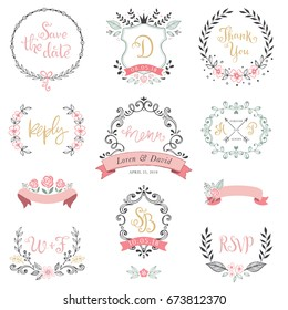 Floral wreaths, monograms and frames collection. Set of cute hand drawing retro rustic design elements perfect for wedding invitations, save the date, thank you, menu, reply and greeting cards.