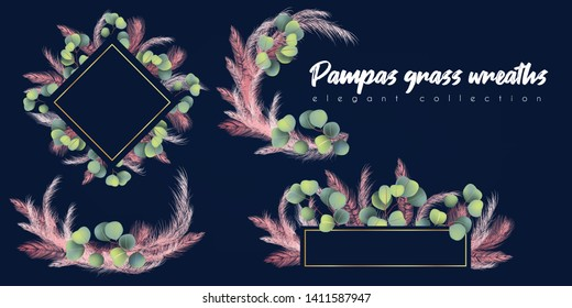 Floral wreaths with pink pampas grass end eucalyptus. for wedding invitation, card design
