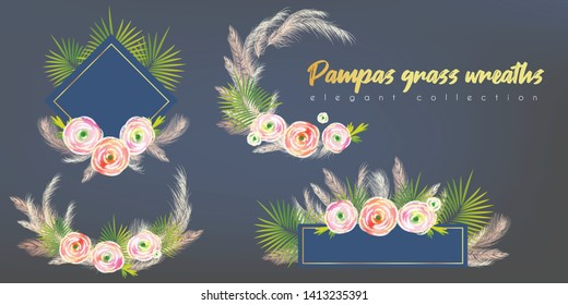 Floral wreaths with white pampas grass, palm leaves, ranunculus. for wedding invitation, card design