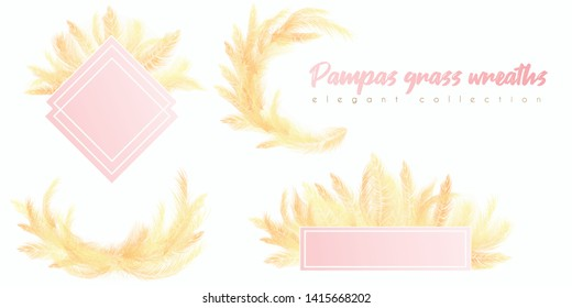 Floral wreaths with white pampas grass. for wedding invitation, card design