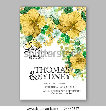Floral Yellow Hibiscus Wedding Invitation Vector Stock