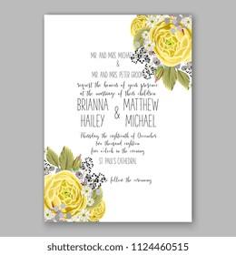 Floral yellow rose ranunculus wedding invitation vector printable card Bridal shower bouquet wreath Aloha