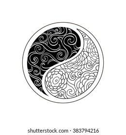 Floral Yin Yang Symbol vector illustration with chrysanthemums. Ornament  painted by hand. Scribble and curls. Zentangle mandala.