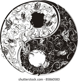 Floral Yin Yang Symbol vector illustration.