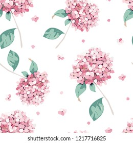 Floralr seamless pattern. Vintage print with hortensia flowers.Vector illustration