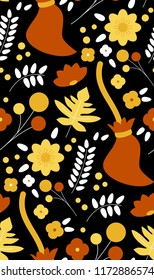 Florals and autumn leaves - witch broomsticks on black background. Seamless pattern vector