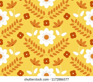Florals decoration - orange, yellow, and white. Seamless pattern vector