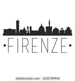Florence City Skyline Silhouette City Design Vector Famous Monuments