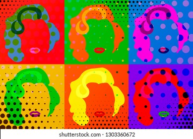 Florence, Italy - 10/10/2018 :  Marilyn Monroe Colored Vector Illustration Pop Art Style, sexy Diva woman concept, Andy Warhol style
