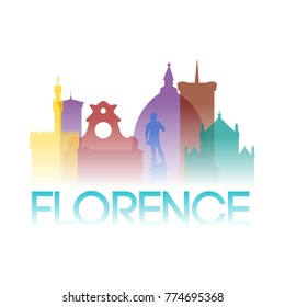 Florence Italy Europe Icon Silhouette Gradient Design City Vector Art
