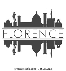 Florence Italy Europe Skyline Vector Art Mirror Silhouette Emblematic Buildings