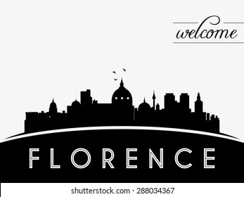 Florence Italy skyline silhouette black vector design on white background.