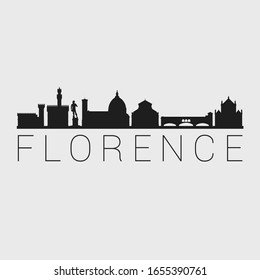 Florence, Italy. The Skyline in Silhouette of City. Black Design Vector. The Famous and Tourist Monuments. The Buildings Tour in Landmark.