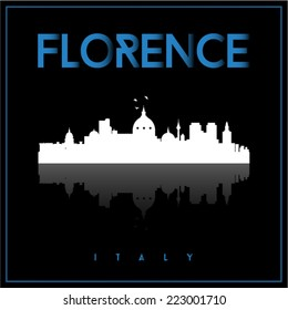 Florence, Italy, skyline silhouette vector design on parliament blue and black background.