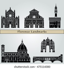 Florence landmarks and monuments isolated on blue background in editable vector file
