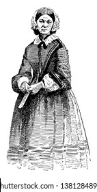 Florence Nightingale, 1820-1910, she was an English social reformer and statistician, and the founder of modern nursing, vintage line drawing or engraving illustration